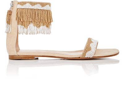 Beaded Ankle-Cuff Sandals