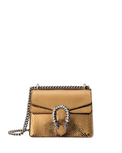 DIONYSUS CHAIN MINI PYTHON EVENING BAG, GOLD/BLACK