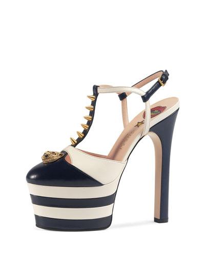 Angel spike-embellished leather platform sandals