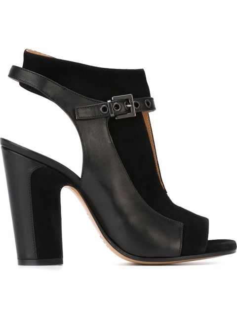 Suede Two=Tone Open Toe Ankle Boots