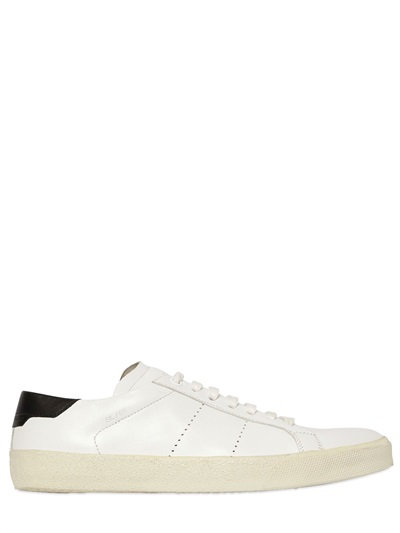 SIGNATURE COURT SL/06 SNEAKER IN WHITE AND BLACK LEATHER