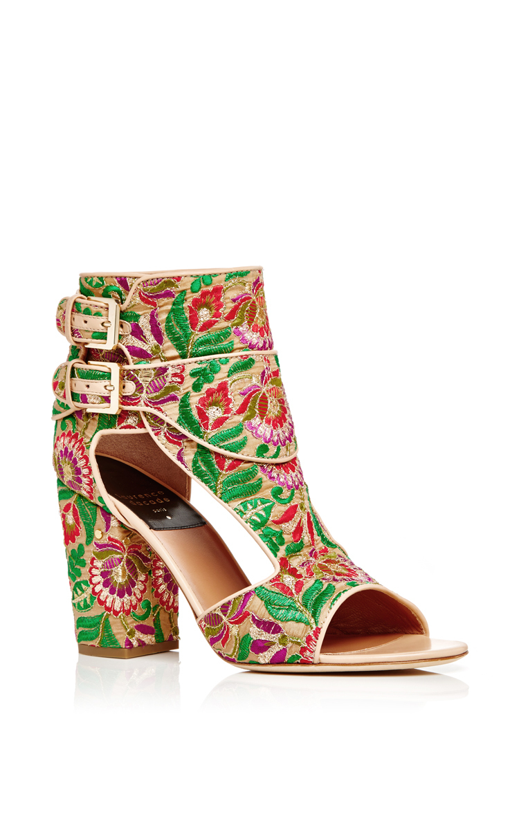 Rush Floral-Embroidered Block-Heel Sandal, Nude