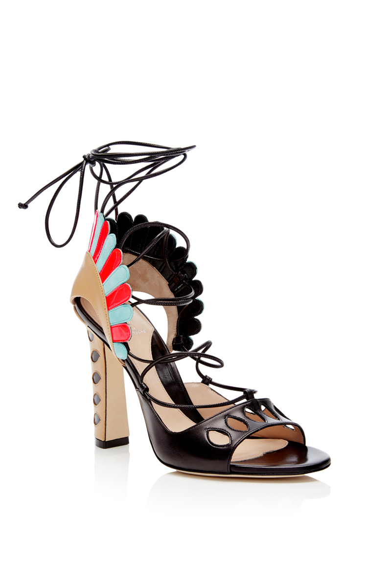 Lotus Leather Scallop Sandals