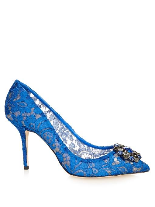 Belluci crystal-embellished lace pumps