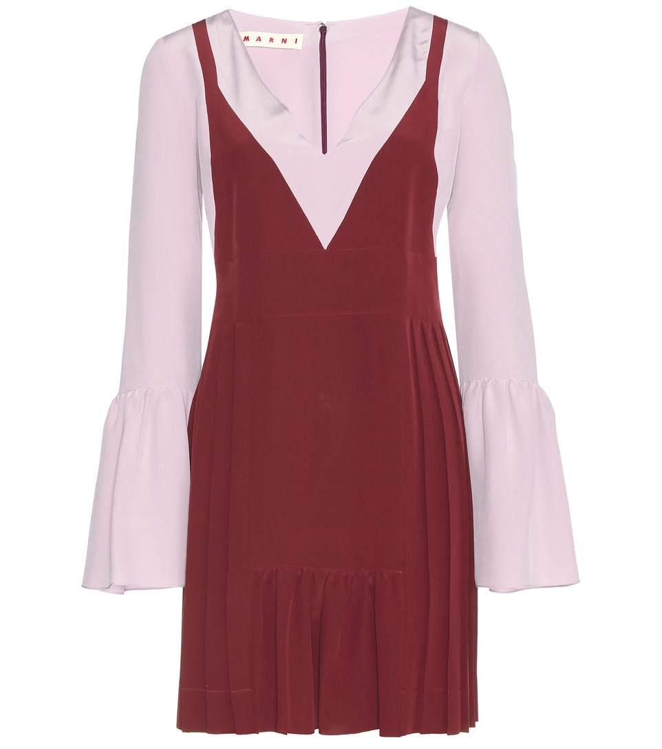 Contrast-Panel Crepe Tunic Dress