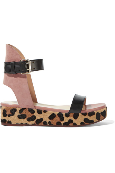 Leather, suede and leopard-print goat hair platform sandals