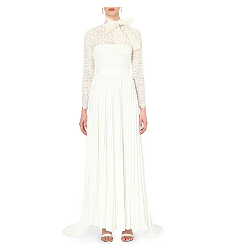 Self Portrait Long-Sleeve Pleated Lace-Trim Gown, Off White