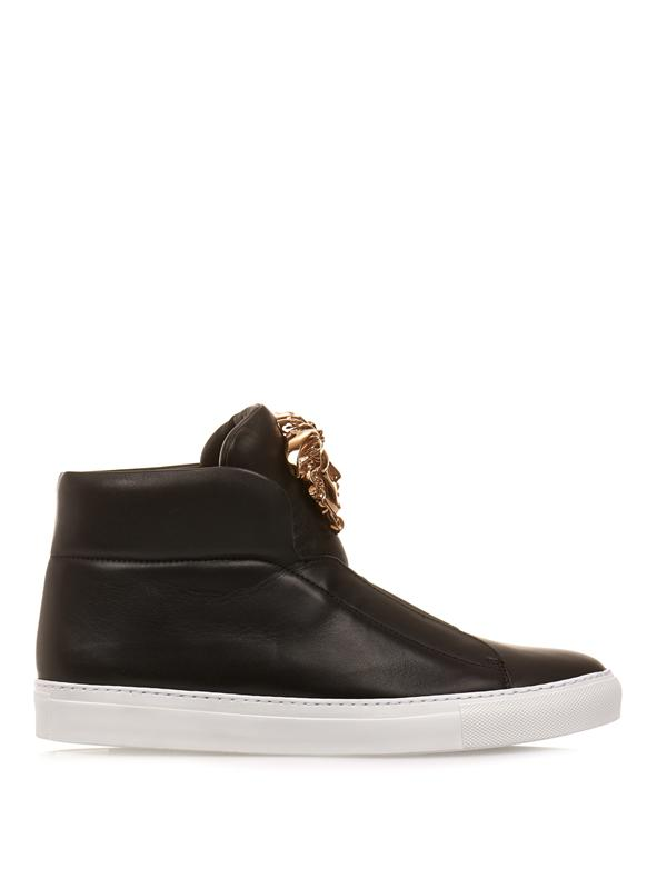 Medusa Head Laceless Leather Sneakers In Black & Gold