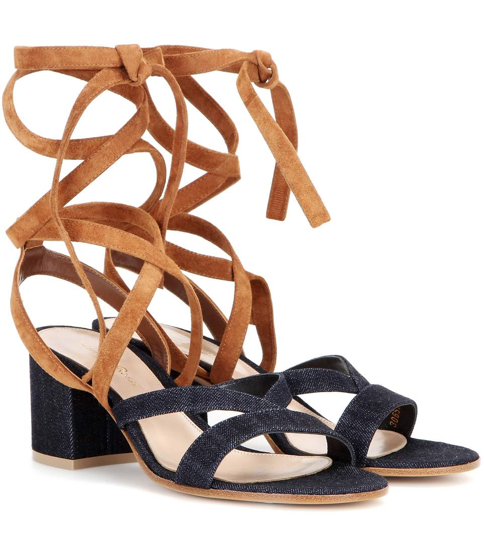 JANIS LOW DENIM AND SUEDE SANDALS