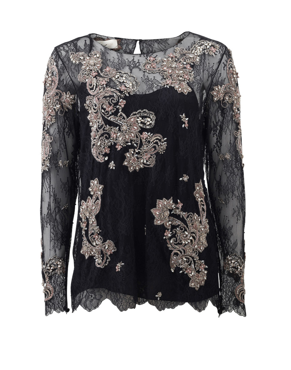 Chantilly Lace Top With Beading