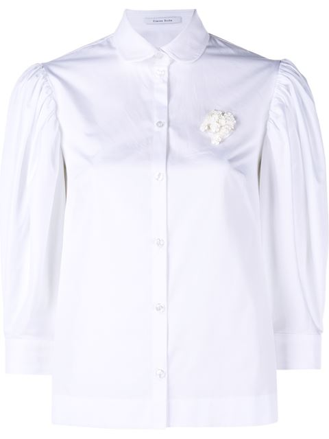 Cotton Poplin Shirt With Floral Embellishment