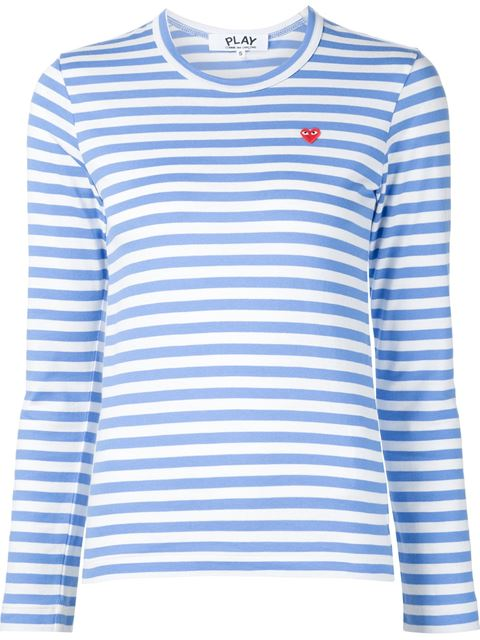 COMME DES GARCONS PLAY STRIPED SMALL EMBLEM TEE IN BLUE,STRIPES