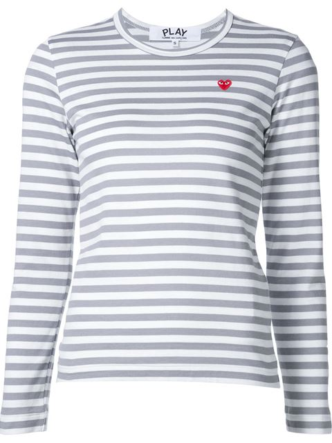 White and Grey Striped Heart Patch T-Shirt Comme Des Garçons
