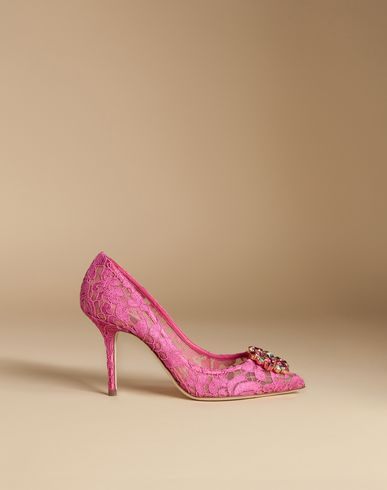 COURT SHOE IN TAORMINA LACE WITH CRYSTALS