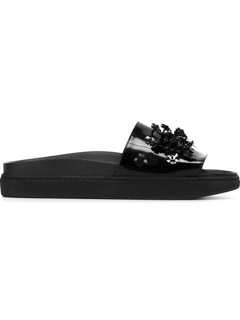 Beaded Platform Leather Slides