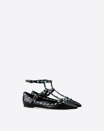 Rolling Rockstud leather flats