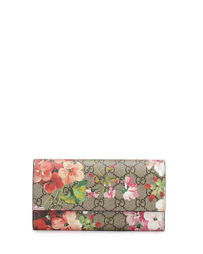 GG BLOOMS SUPREME LEATHER WALLET, MULTI ROSE