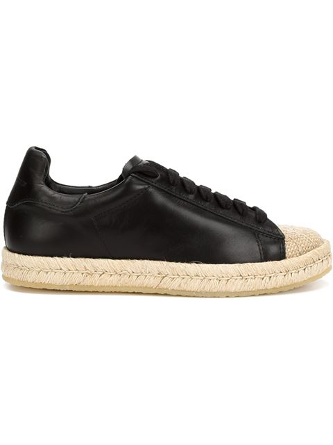 WOMAN RIAN CANVAS-PANELED LEATHER SNEAKERS BLACK
