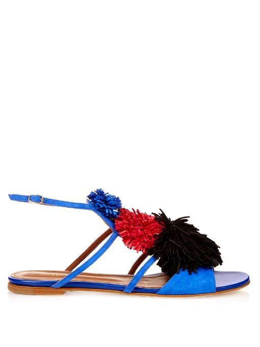 Sherry fringed-pompom suede flat sandals