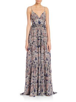L Agence Silks Honore Paisley-Print Silk Maxi Gown