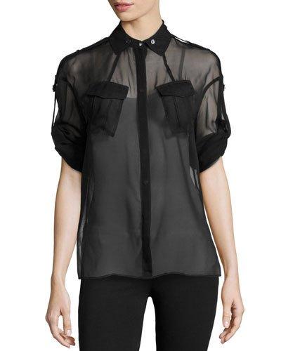 Long-Sleeve Silk Utility Shirt, Black
