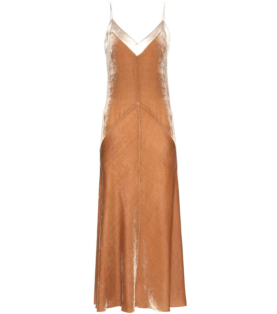 HILLIER BARTLEY VELVET SLIP DRESS, BEIGE