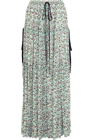 Tiered floral-print crepe de chine maxi skirt