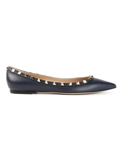 Rockstud patent-leather pointed toe flats