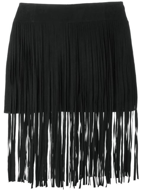 Fringed Suede Mini Skirt