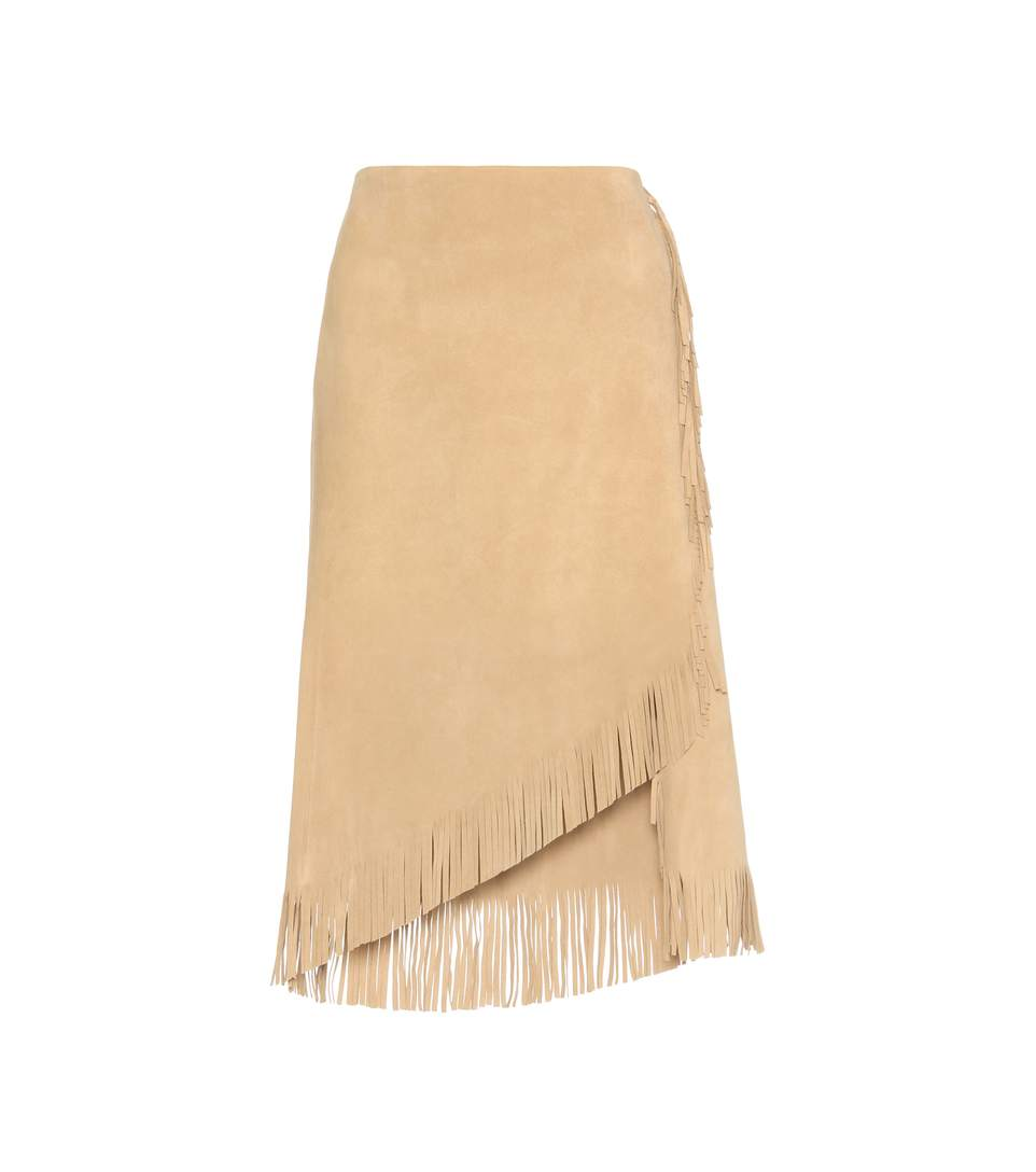 Fringed Suede Wrap Skirt