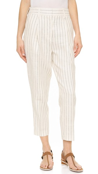 PINSTRIPE LINEN CARROT PANTS, CLOUD