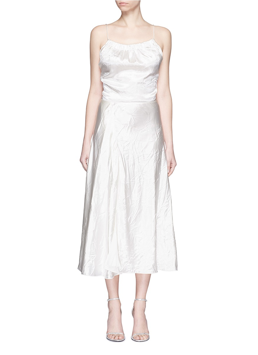 Crushed Duchesse Satin Camisole Dress