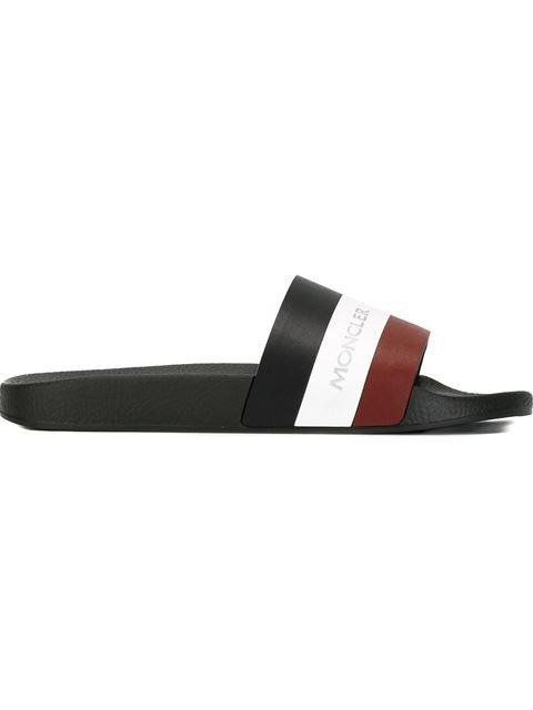 Basile Striped Leather And Rubber Slides
