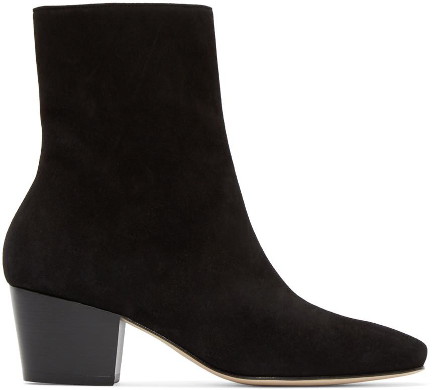 Black Suede Droop Nose Boots