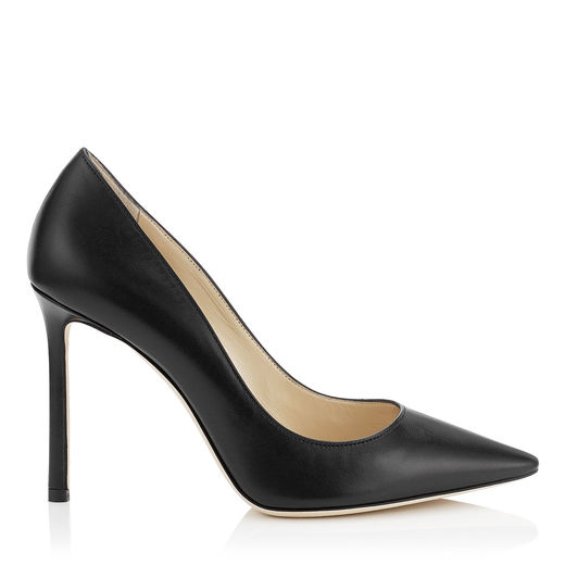 ROMY 100 Black Kid Leather Pointy Toe Pumps