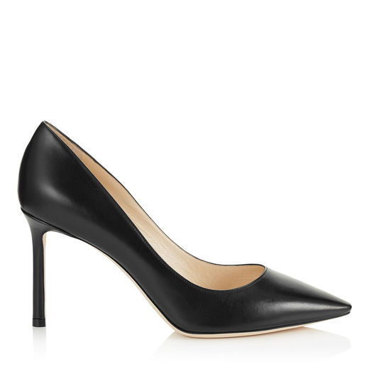 ROMY 85 Black Kid Leather Pointy Toe Pumps