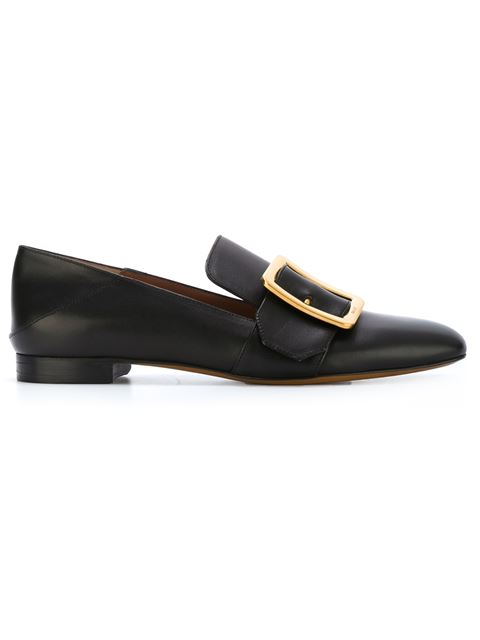 10Mm Janelle Buckle Leather Loafers, Black