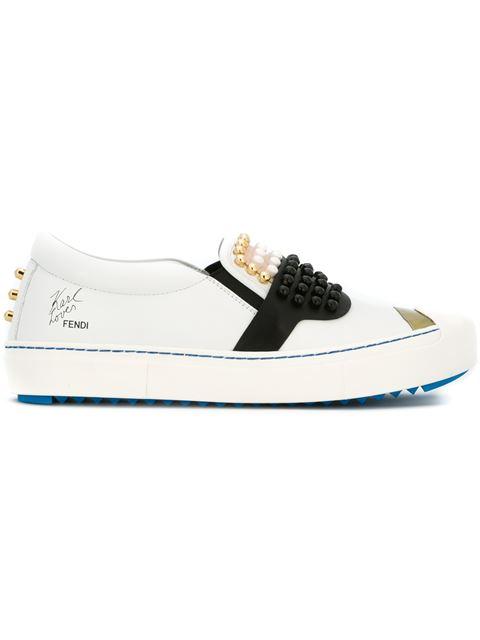 White Karlito slip on leather sneakers
