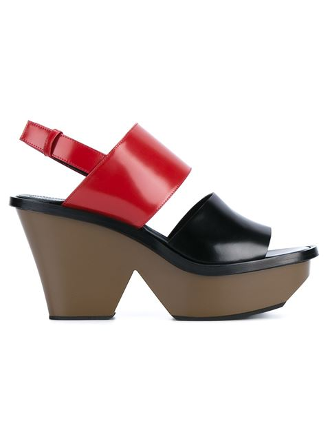 Colorblock Leather Platform Sandals