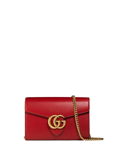 Interlocking Gg Marmont Leather Wallet-On-Chain, Red