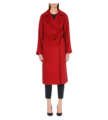 Manuela camel-hair wrap coat