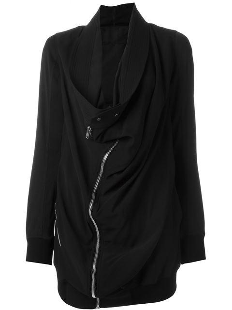 draped biker coat