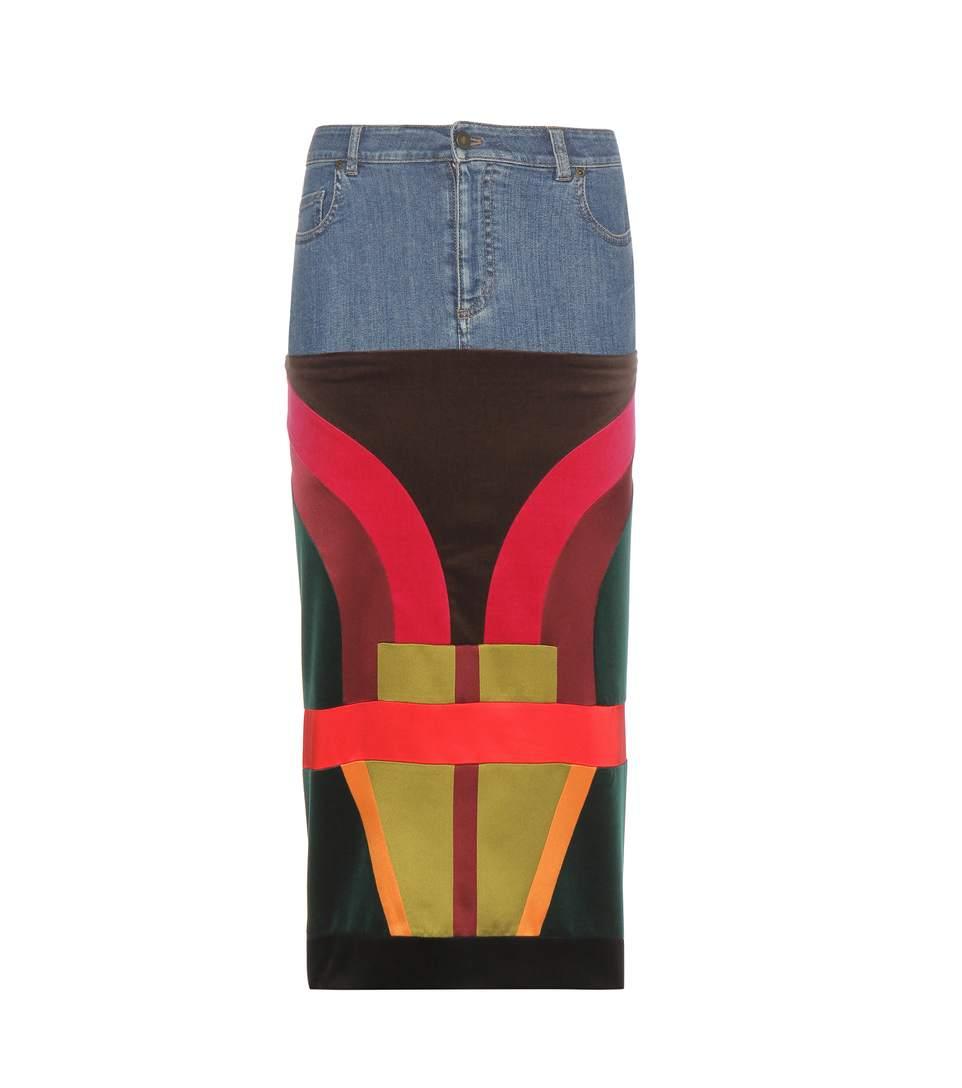 Velvet, satin and denim skirt