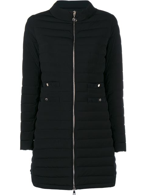 AUBRITCH LIGHTWEIGHT QUILTED LONG PUFFER COAT, NAVY