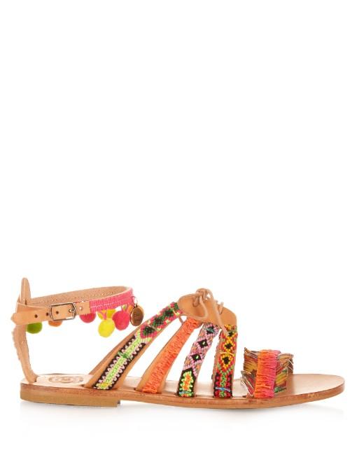 ELINA LINARDAKI Hula Hoop embellished leather flat sandals