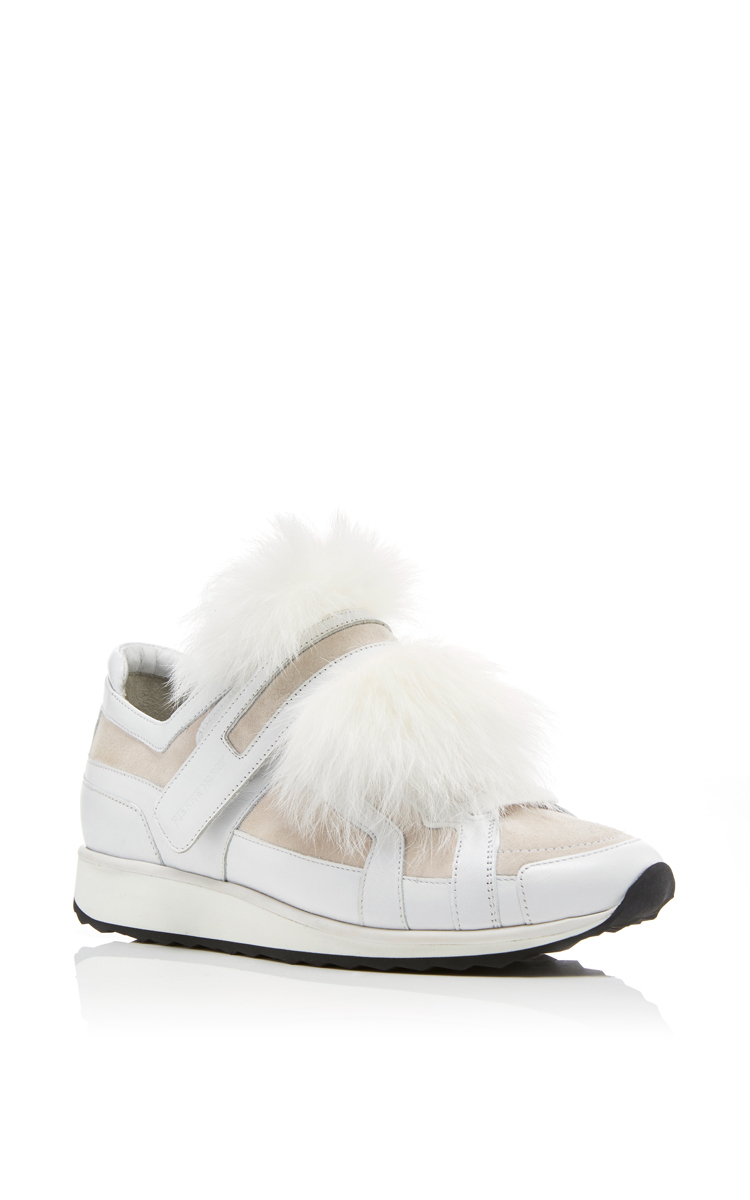 Platform Leather Sneakers with Fox Fur