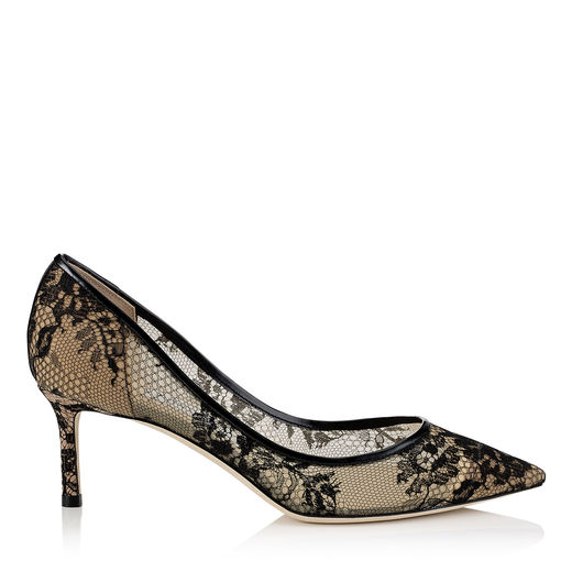 ROMY 60 Black Lace Pointy Toe Pumps