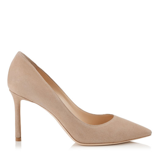 ROMY 85 Nude Suede Pointy Toe Pumps
