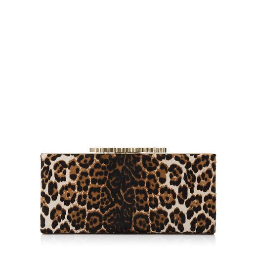 'Celeste' Logo Leopard Print Genuine Calf Hair Clutch