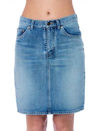 Blue Denim Embroidered Logo Miniskirt
